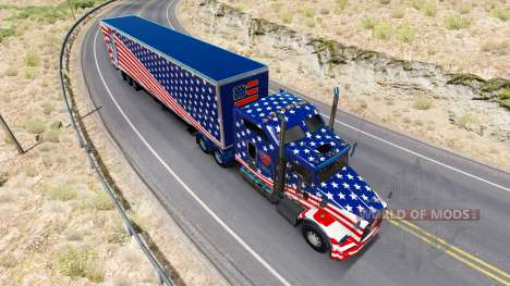 Skin USA Flag tractor on a Kenworth T800 for American Truck Simulator