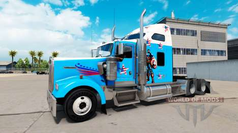 Skin Captain America on the truck Kenworth W900 for American Truck Simulator