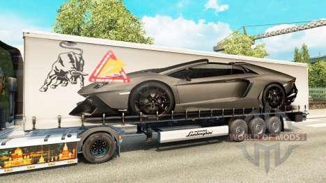 Skin Lamborghini Aventador in the trailer for Euro Truck Simulator 2