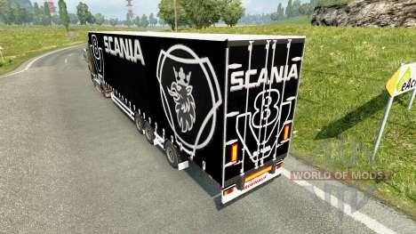 Curtain semi-trailer Scania V8 for Euro Truck Simulator 2