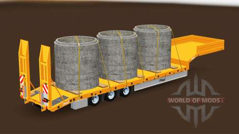 Low-frame trawl Fliegl with different loads. for American Truck Simulator