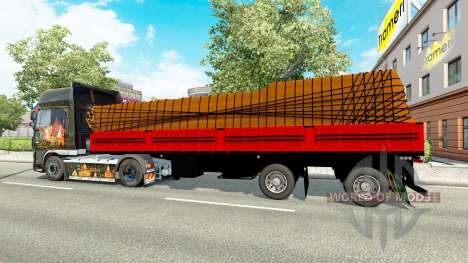 Flatbed semi trailer with cargo for Euro Truck Simulator 2