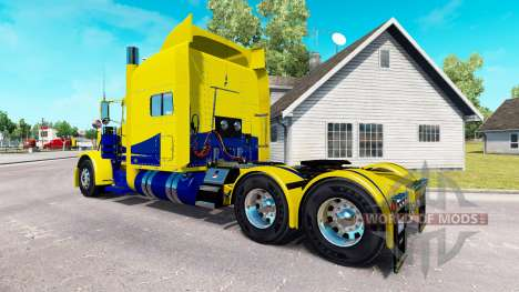 Skin Yellow and Blue for the truck Peterbilt 389 for American Truck Simulator