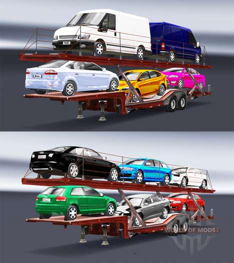 Semi trailer-car carrier with Audi and Ford for Euro Truck Simulator 2