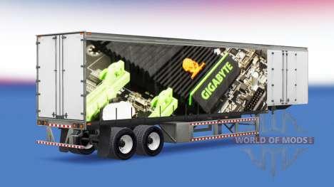 Skin Gigabyte on a curtain semi-trailer for American Truck Simulator