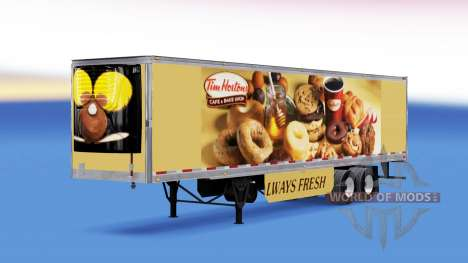 Skin Tim Hortons on refrigerated semi-trailer for American Truck Simulator