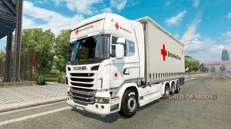 Scania R730 Tandem British Red Cross for Euro Truck Simulator 2