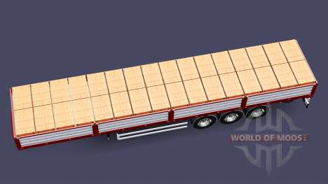 Flatbed semi trailer with a load of bricks for Euro Truck Simulator 2