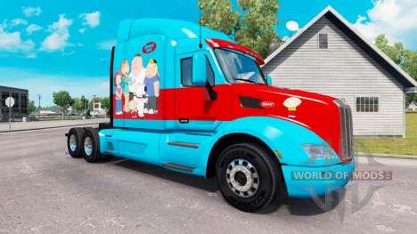 Family Guy skin for the truck Peterbilt for American Truck Simulator