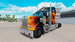 Skin Tigers In Flames on the truck Kenworth W900