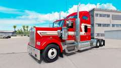 Skin Red and Cream on the truck Kenworth W900 for American Truck Simulator