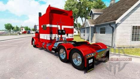 Скин White Stripes on Red Paint на Peterbilt 389 for American Truck Simulator