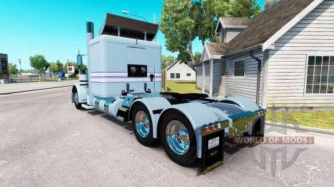 Skin Blue-white stripes for the truck Peterbilt  for American Truck Simulator