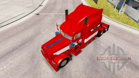 Скин White Stripes on Red Paint на Peterbilt 389 for American Truck Simulator