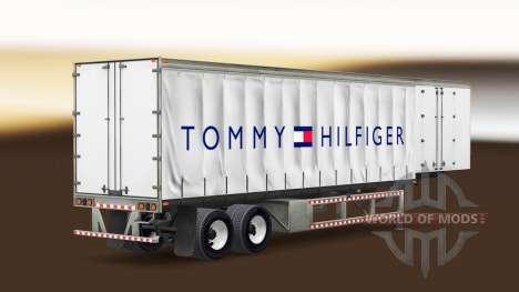 Skin Tommy Hilfiger on a curtain semi-trailer for American Truck Simulator