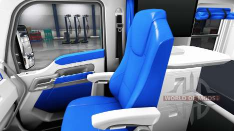 The interior is White and Blue for Kenworth T680 for American Truck Simulator