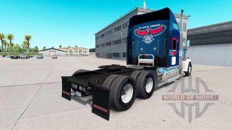 Skin Atlanta Hawks on the truck Kenworth W900 for American Truck Simulator