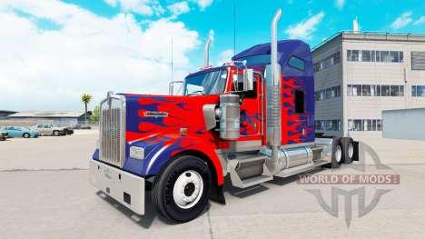 Skin for Optimus Prime truck Kenworth W900 for American Truck Simulator