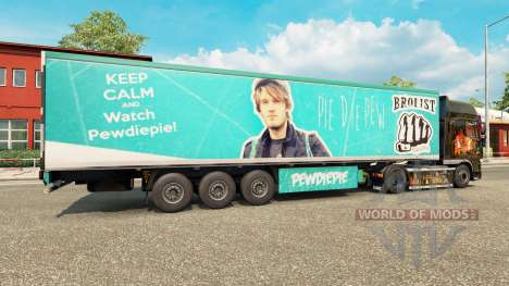 Skin PewDiePie on the trailer for Euro Truck Simulator 2