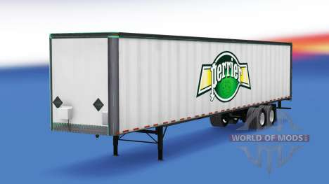 Skin Perrier on the all-metal trailer for American Truck Simulator