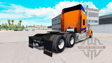 Скин Blue Stripes on Orange на Kenworth W900 for American Truck Simulator