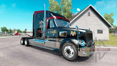 Skin Guns N Roses on the truck Freightliner Coro for American Truck Simulator