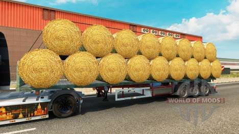 The semitrailer-platform with a load of round ba for Euro Truck Simulator 2