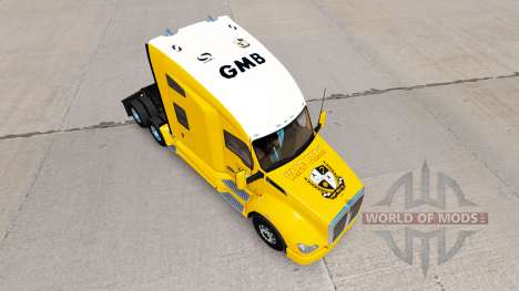 Skin Port Vale on yellow tractor Kenworth for American Truck Simulator
