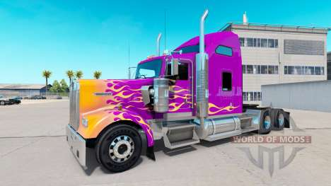 Skin California Flames on the truck Kenworth W90 for American Truck Simulator