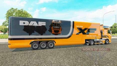 Semi-trailer refrigerator truck DAF XF for Euro Truck Simulator 2