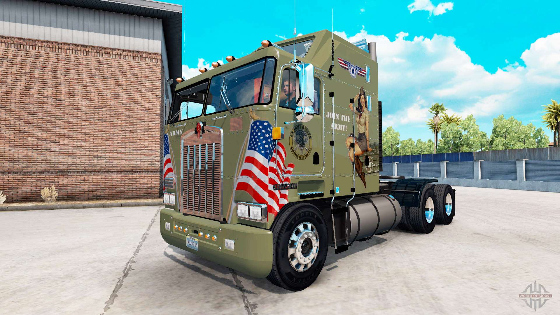 Skin Military Girls On Tractor Kenworth K100 For American
