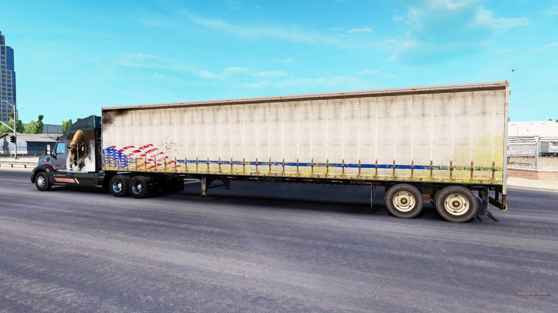 Semi Tractor Trailer : Old curtain semi trailer for american truck simulator