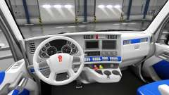The interior is White and Blue for Kenworth T680