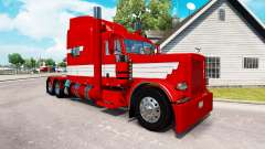 Скин White Stripes on Red Paint на Peterbilt 389