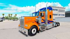 Скин Blue Stripes on Orange на Kenworth W900
