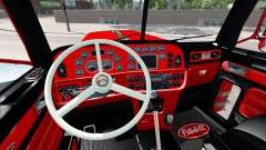 The interior is Red and Black Peterbilt 389