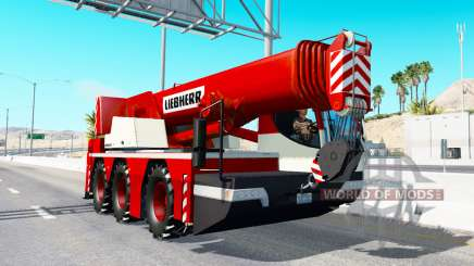 Mobile crane Liebherr in traffic v2.0 for American Truck Simulator