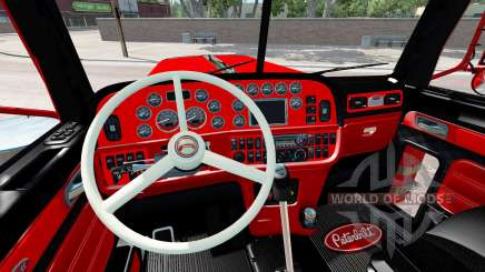 The interior is Red and Black Peterbilt 389 for American Truck Simulator