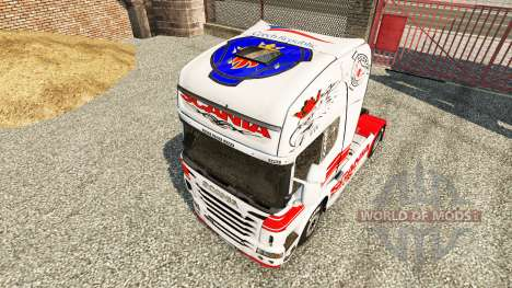 Skin White-red on a tractor Scania for Euro Truck Simulator 2