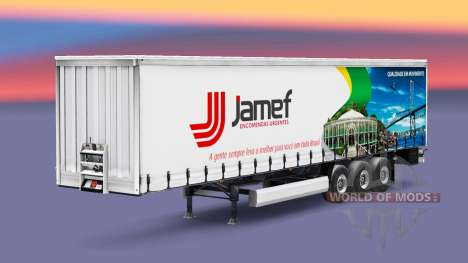 Skin Jamef Logistic trailer on a curtain for Euro Truck Simulator 2