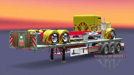 The semitrailer-platform cargo truck Peterbilt for Euro Truck Simulator 2
