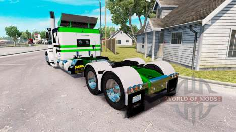 Skin White-metallic green for the truck Peterbil for American Truck Simulator