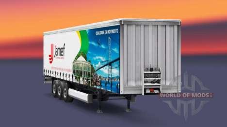 Skin Jamef Logistic trailer on a curtain for Euro Truck Simulator 2