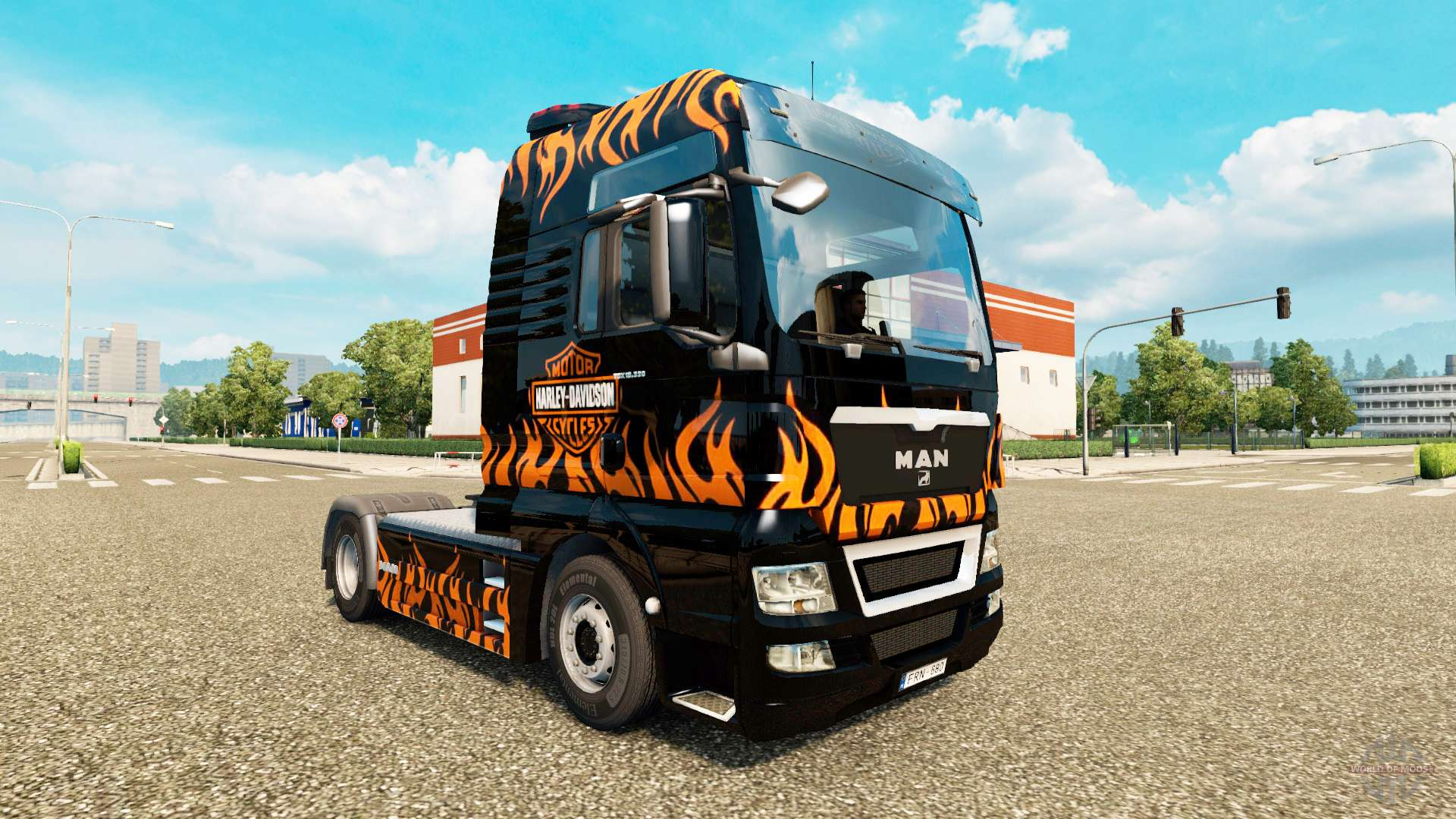 skin harley davidson on the truck man for euro truck simulator 2. Black Bedroom Furniture Sets. Home Design Ideas