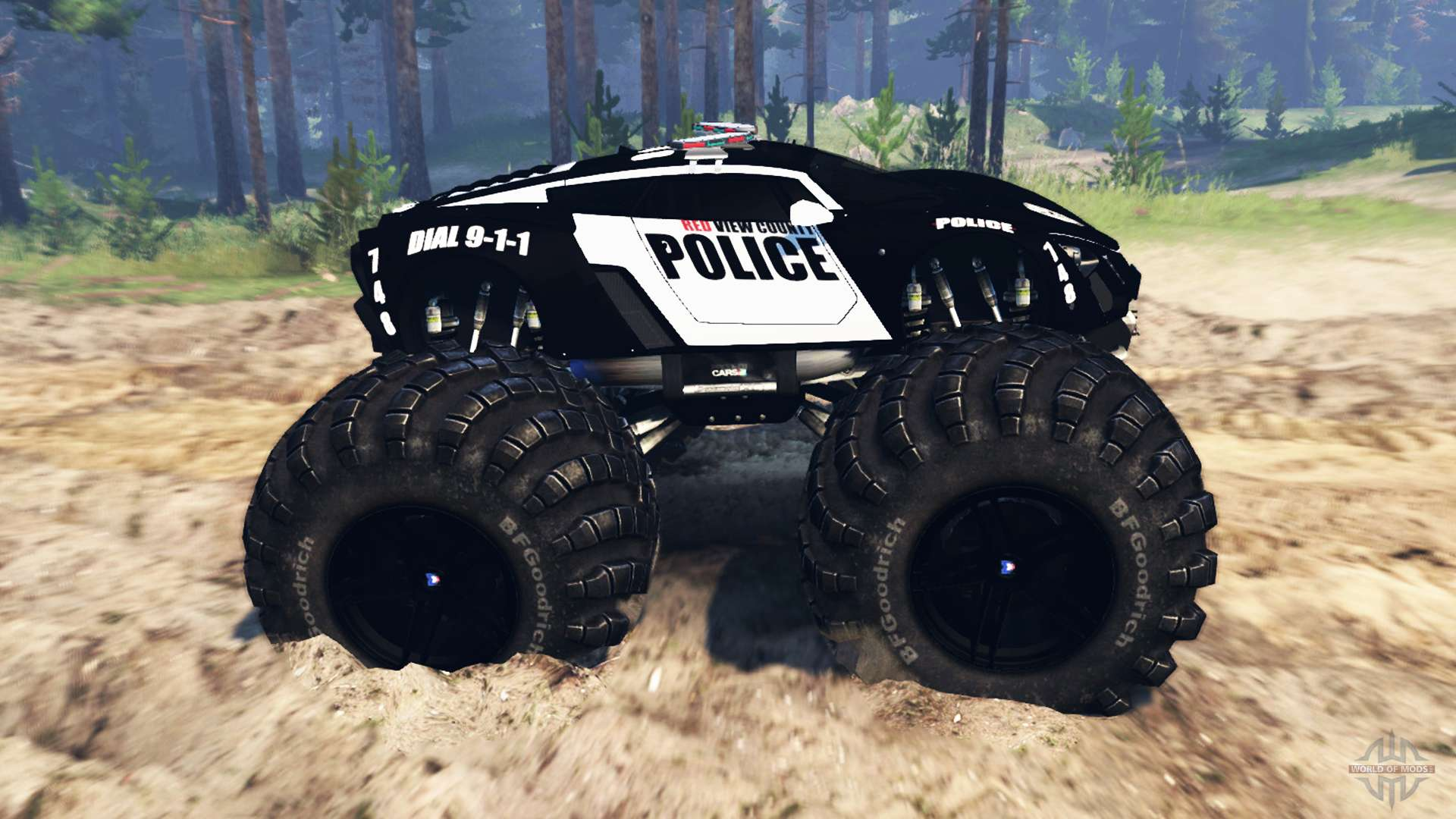 Police Monster Truck For Spin Tires