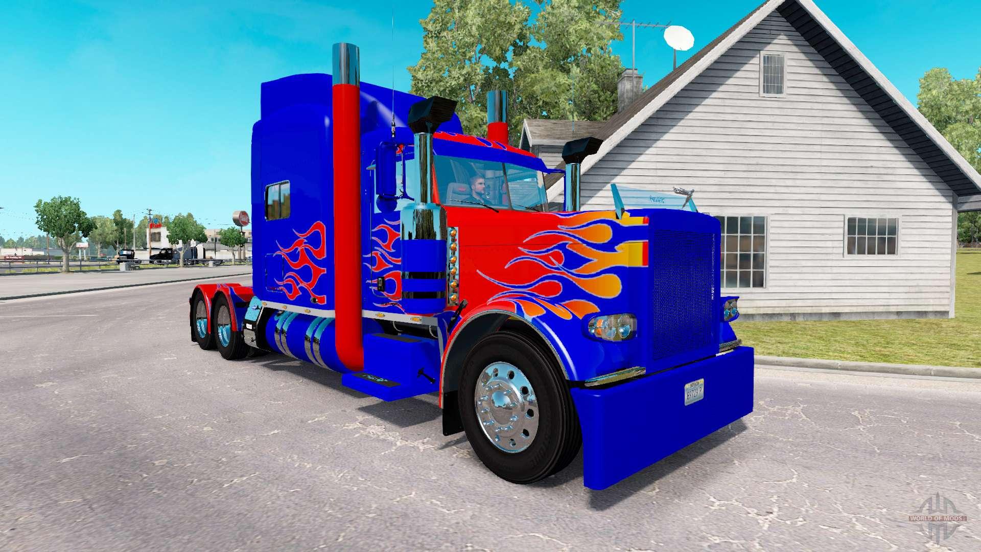 Skin Optimus Prime V2.0 Tractor Peterbilt 389 For American