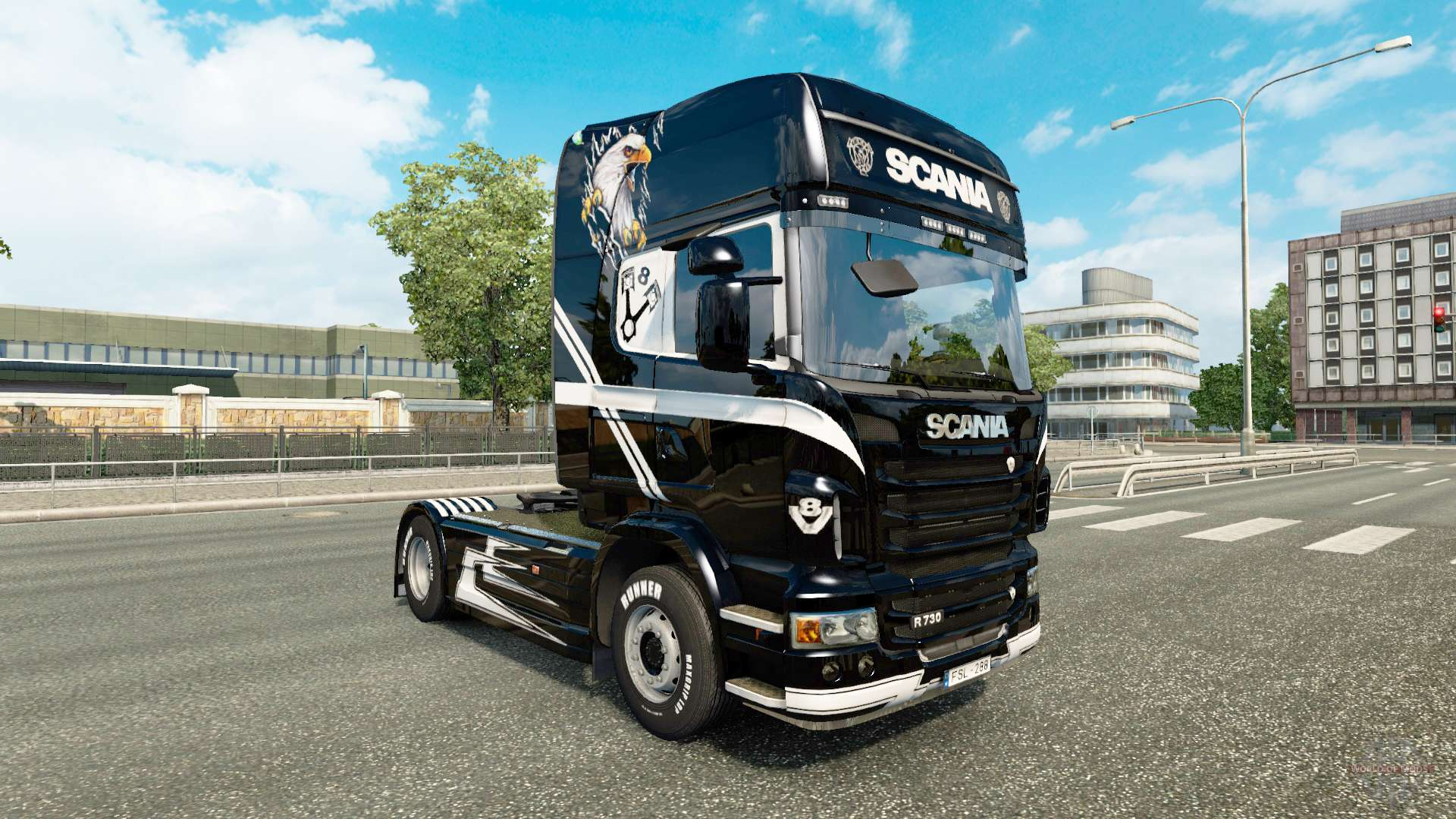 V8 skin for scania truck for euro truck simulator 2