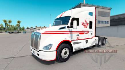 Skin Canadian Express White tractor Kenworth for American Truck Simulator