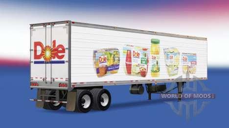 Skin on Dole reefer semi-trailer for American Truck Simulator