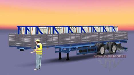 Flatbed semi trailer with a load of copper sulph for Euro Truck Simulator 2